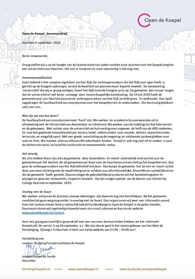 Bewonersbrief open de Koepel sept 2016
